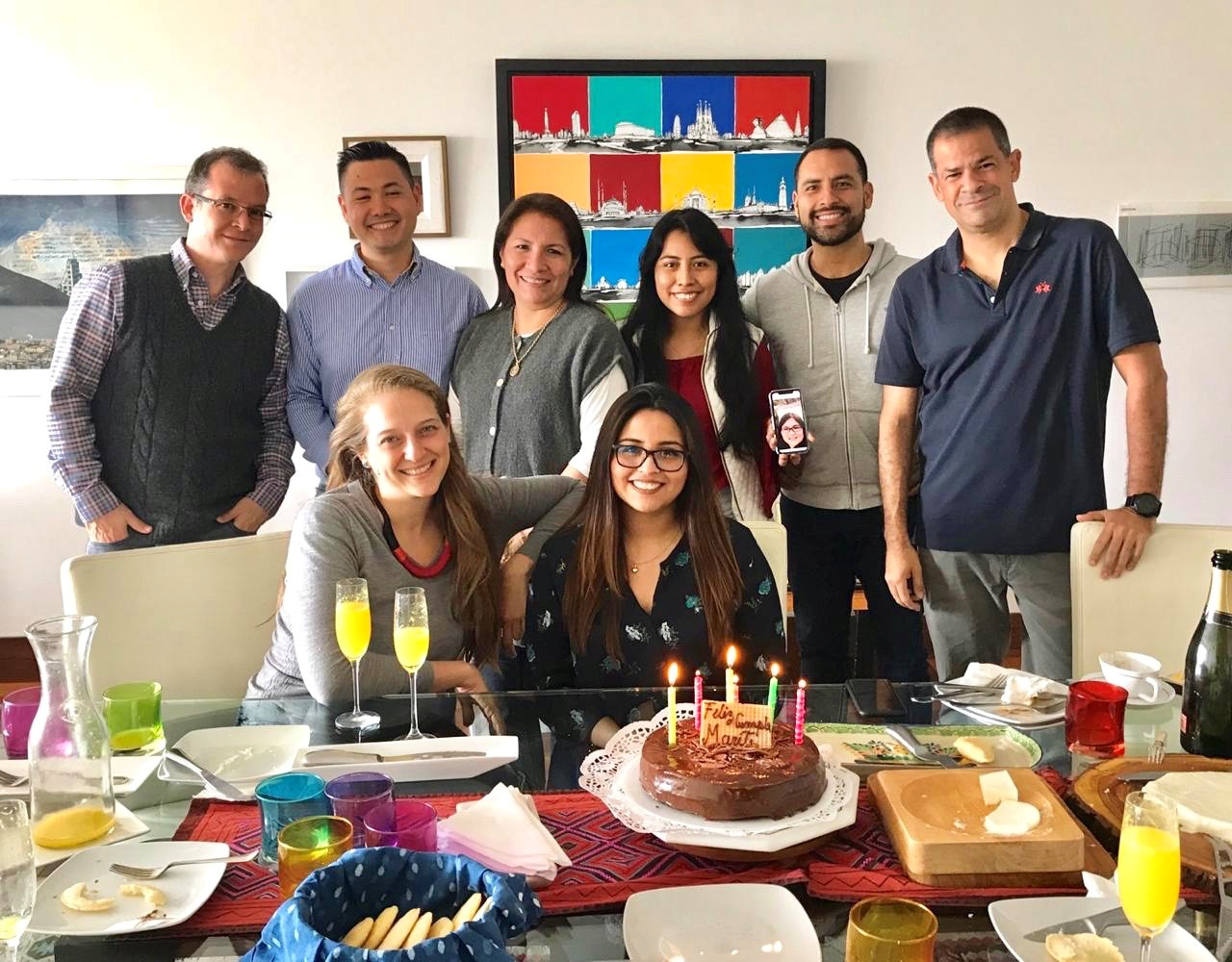 (posted) 2018.10.30 PIP Peru celebrating Marites birthday - Patrick, Daniel, Medalit, Patricia, Angie (on phone), Daniel, Olazhir, Ines and MariaTeresa (1)