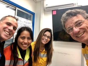 2019.07 MariaTeresa, Diego, Patricia and Ignacio in a copper mine in chile